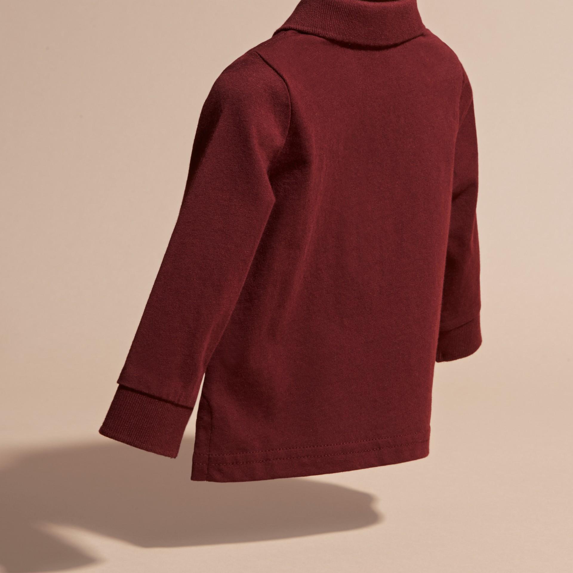 Rouge bourgogne Polo à manches longues en coton avec éléments check Rouge Bourgogne - photo de la galerie 2