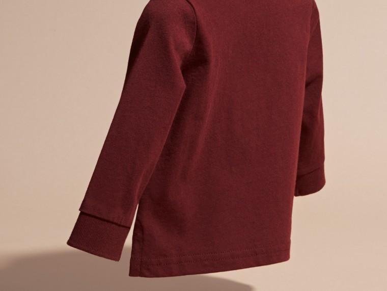 Rouge bourgogne Polo à manches longues en coton avec éléments check Rouge Bourgogne - cell image 1