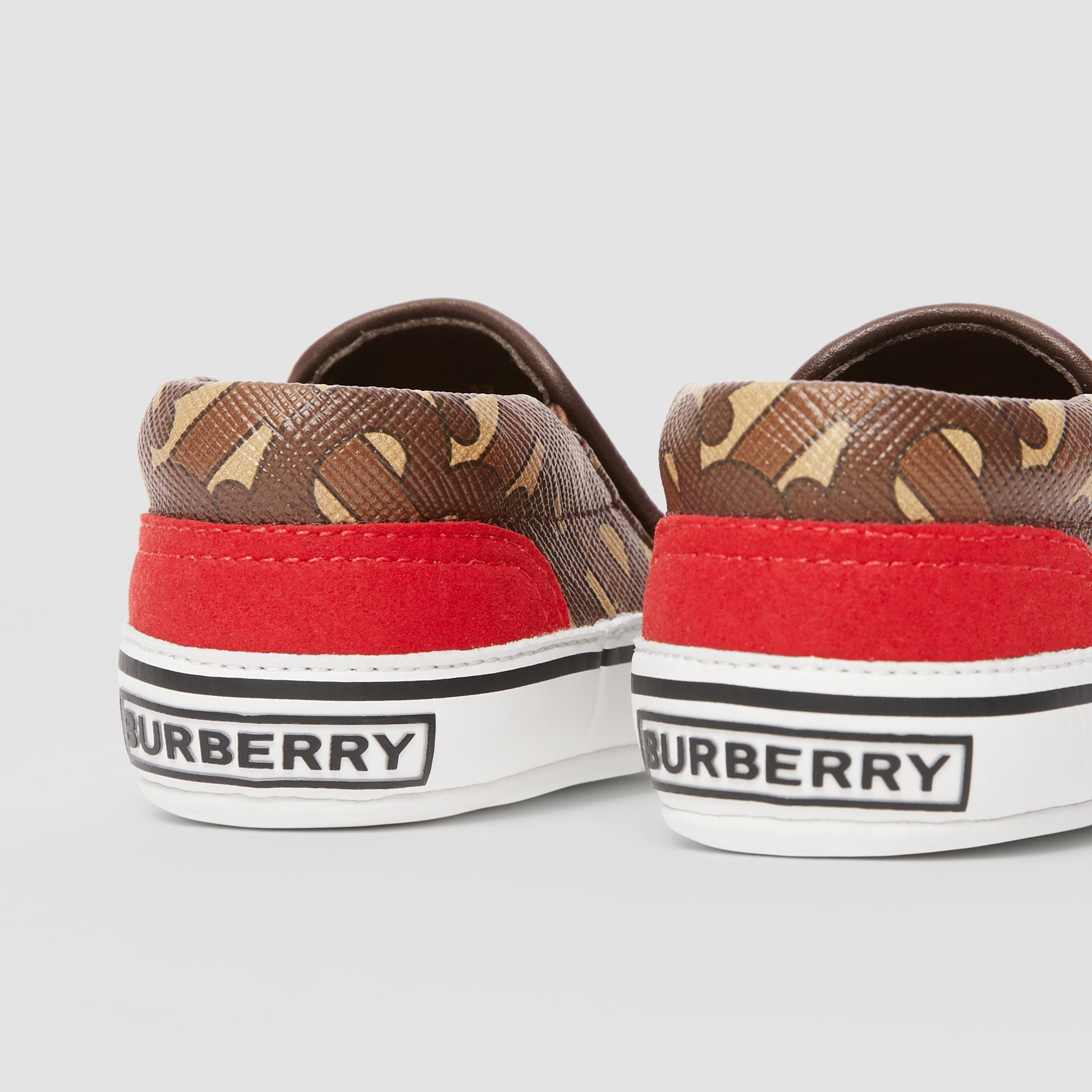 Monogram Print E-canvas Slip-on Shoes in Bridle Brown - Children | Burberry - 2