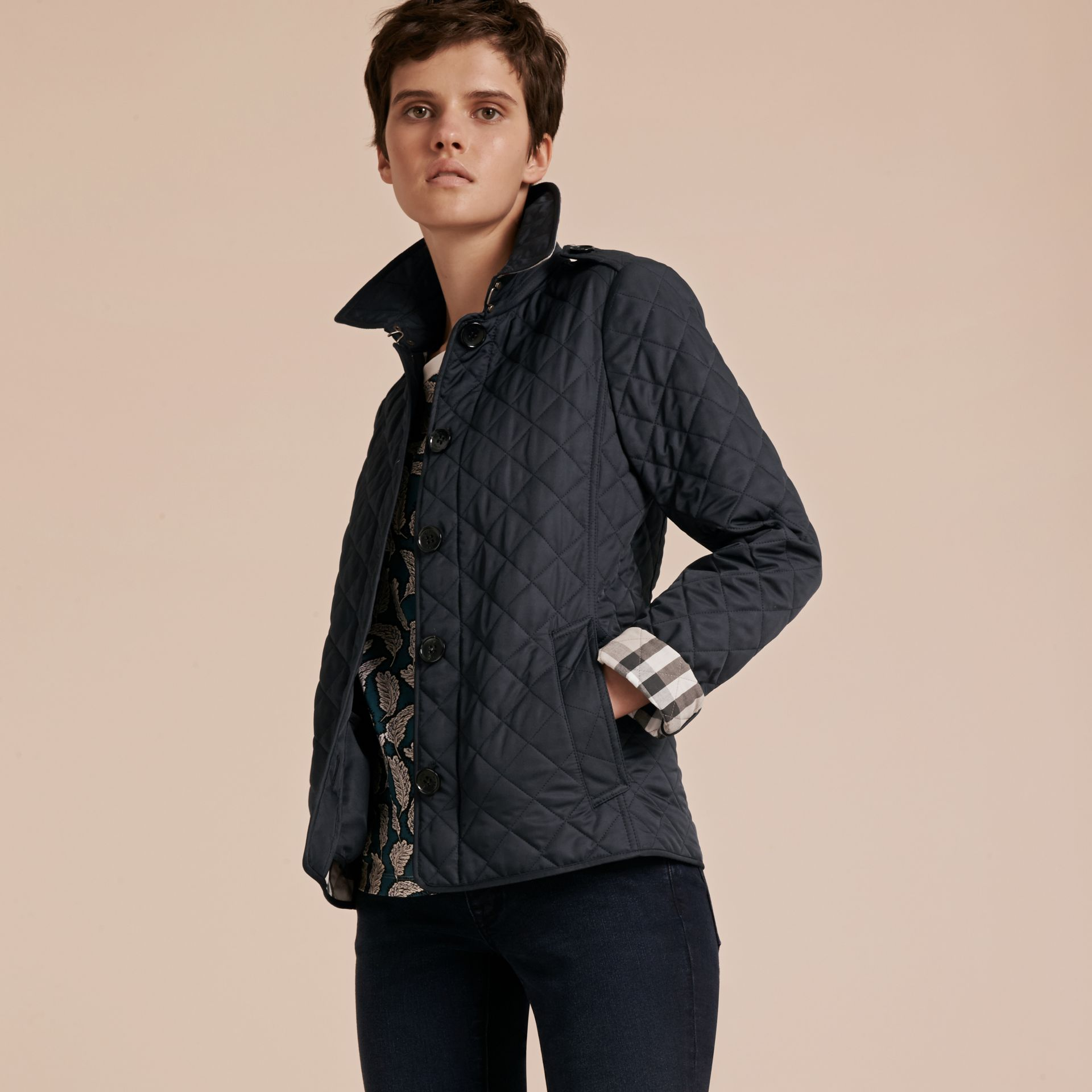 Navy Diamond Quilted Jacket Navy - gallery image 6