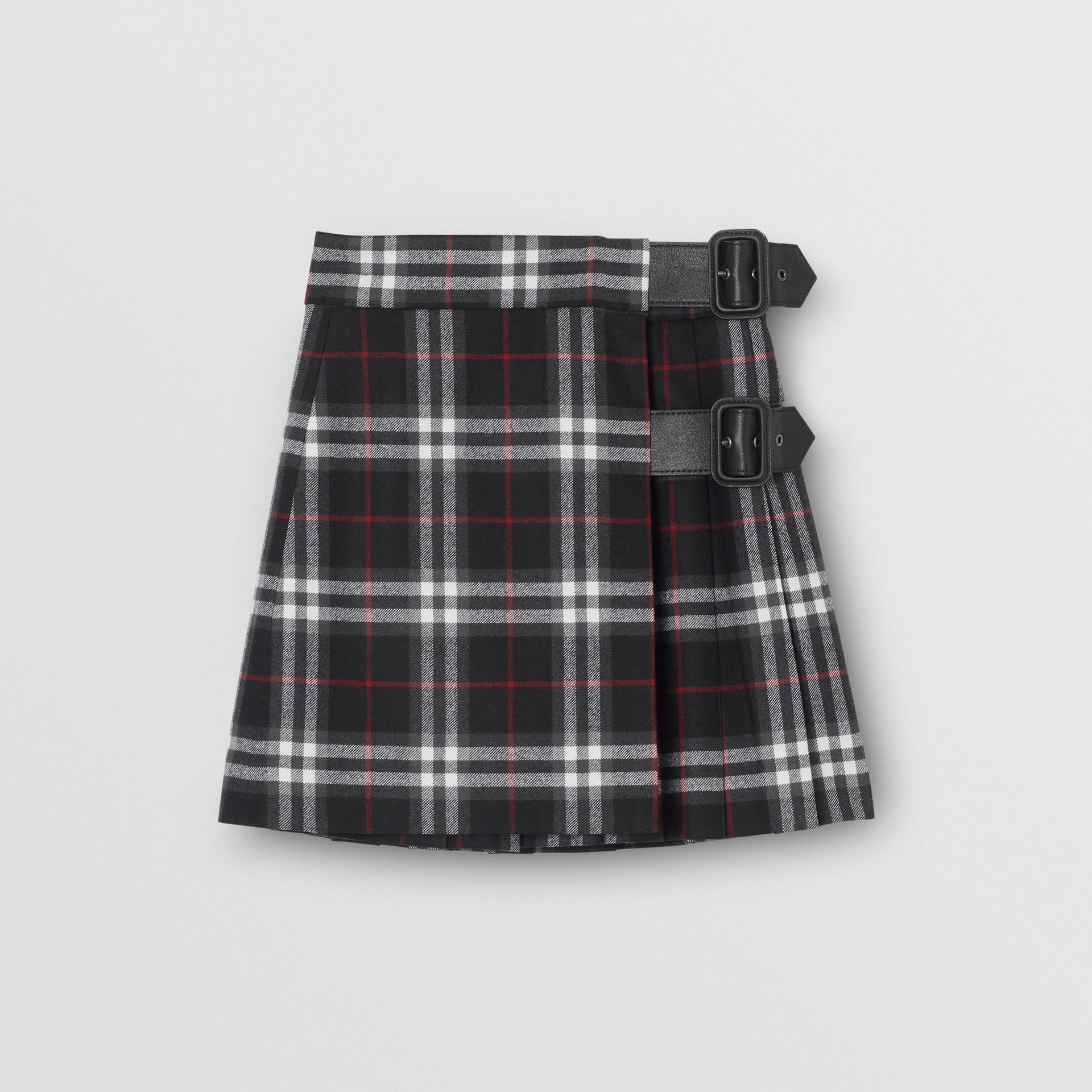 Lambskin Detail Vintage Check Wool Kilt in Black | Burberry - gallery image 0