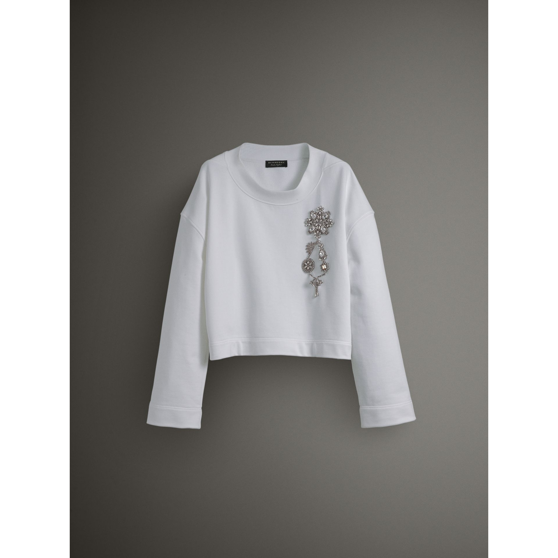 Cropped Sweatshirt with Crystal Brooch in Optic White - Women | Burberry Australia - gallery image 3