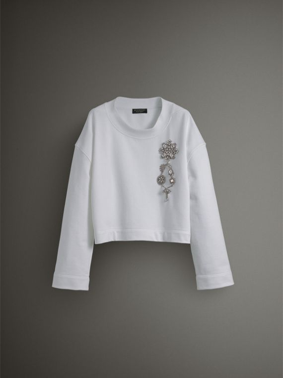 Cropped Sweatshirt with Crystal Brooch in Optic White - Women | Burberry Australia - cell image 3