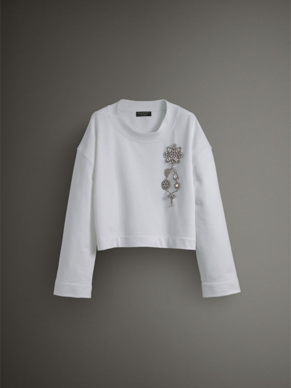 Cropped Sweatshirt with Crystal Brooch in Optic White - Women | Burberry United Kingdom - cell image 3
