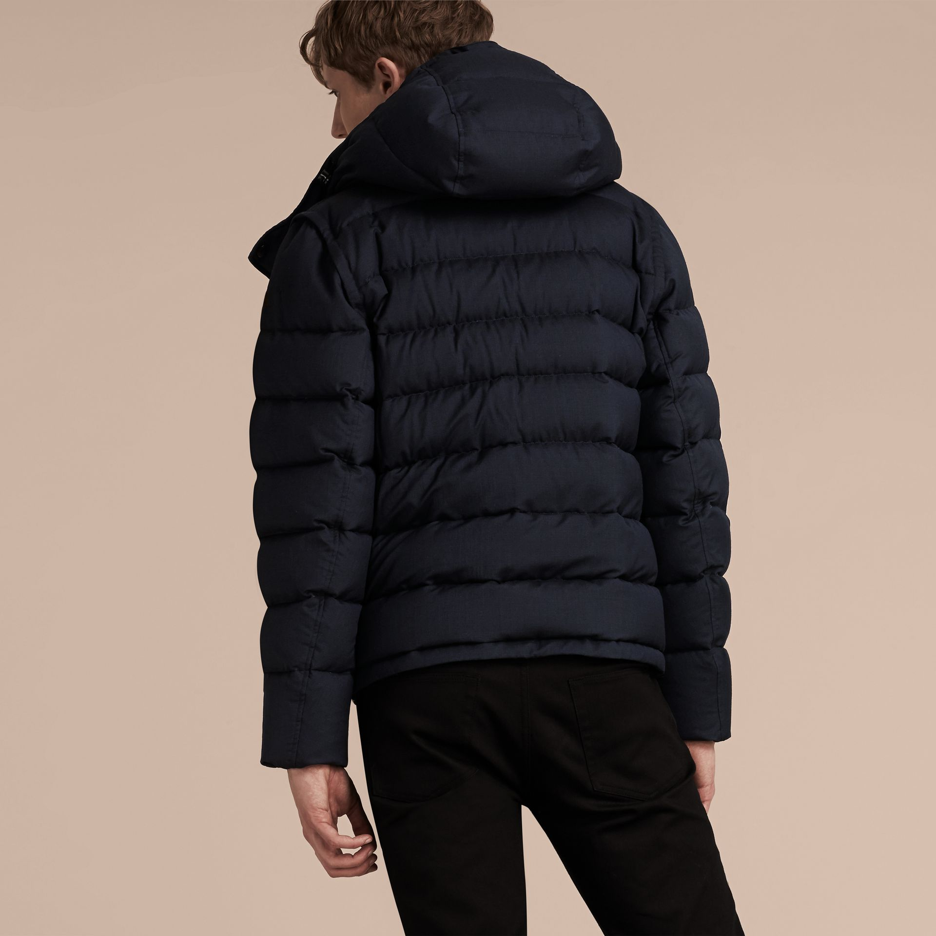 Navy Down-filled Silk Wool Puffer Jacket - gallery image 6