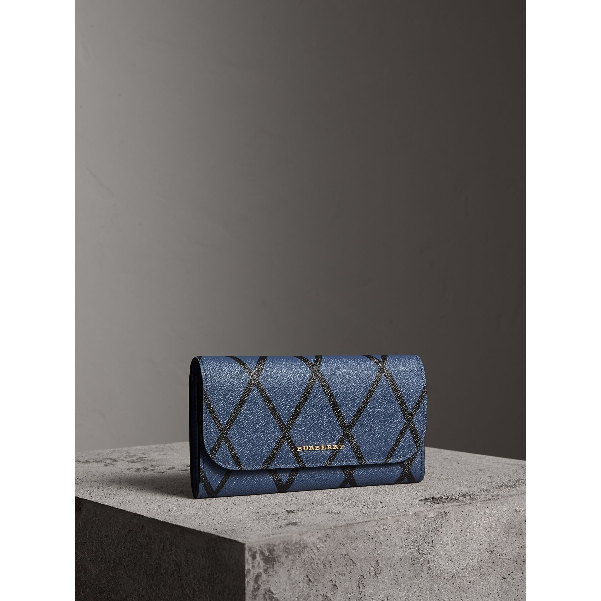 Trompe L'oeil Print Leather Continental Wallet in Steel Blue - Women | Burberry - gallery image 1