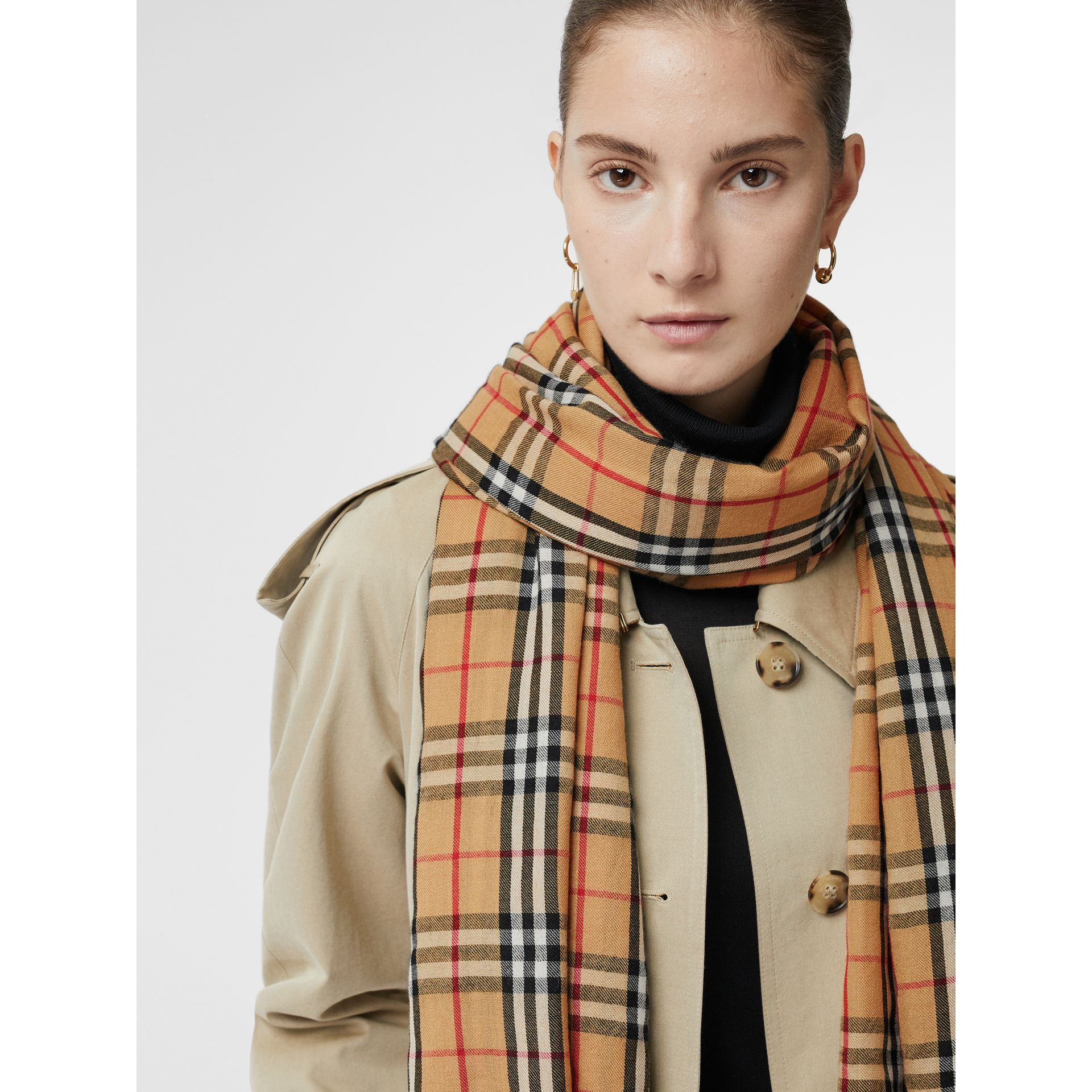 Vintage Check Lightweight Cashmere Scarf in Antique Yellow | Burberry United Kingdom - gallery image 5