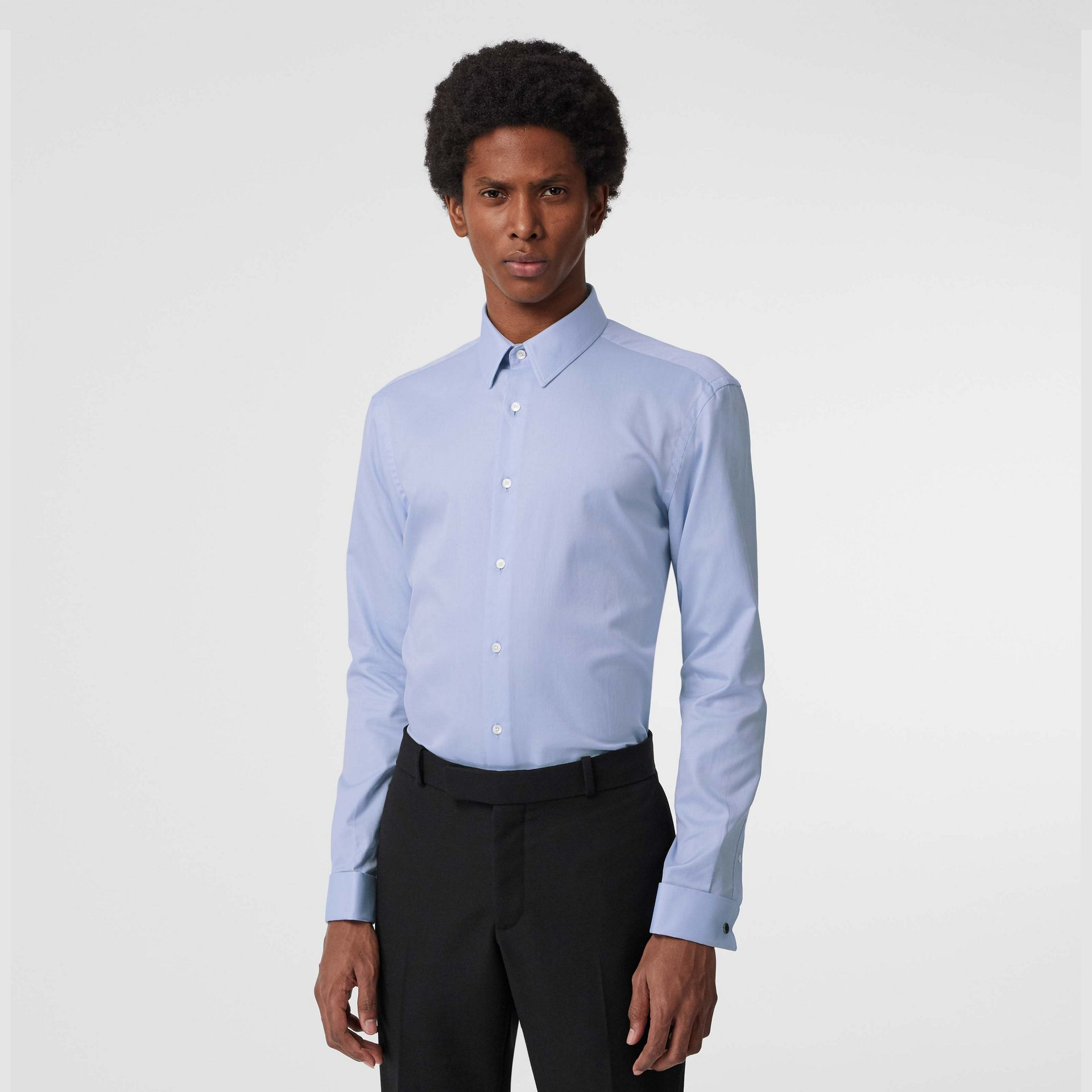 Modern Fit Double Cuff Cotton Shirt in Mid Blue - Men | Burberry - gallery image 0