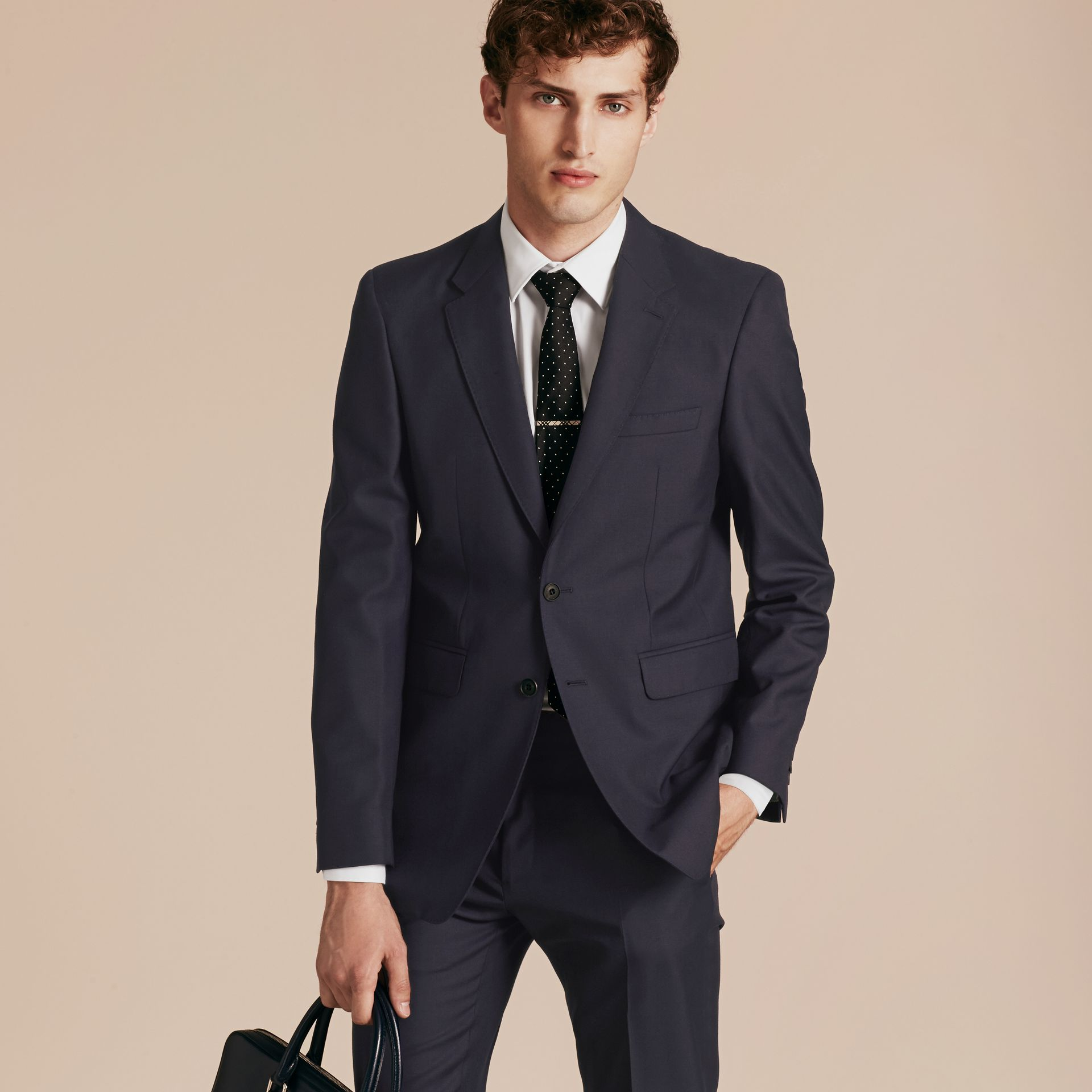Navy Modern Fit Wool Part-canvas Suit Navy - gallery image 8