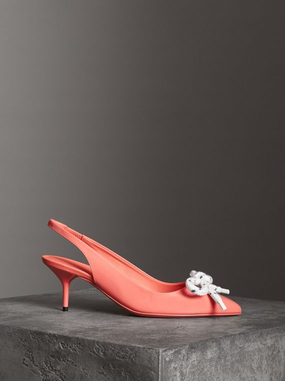 Rope Detail Patent Leather Slingback Pumps in Pink Azalea