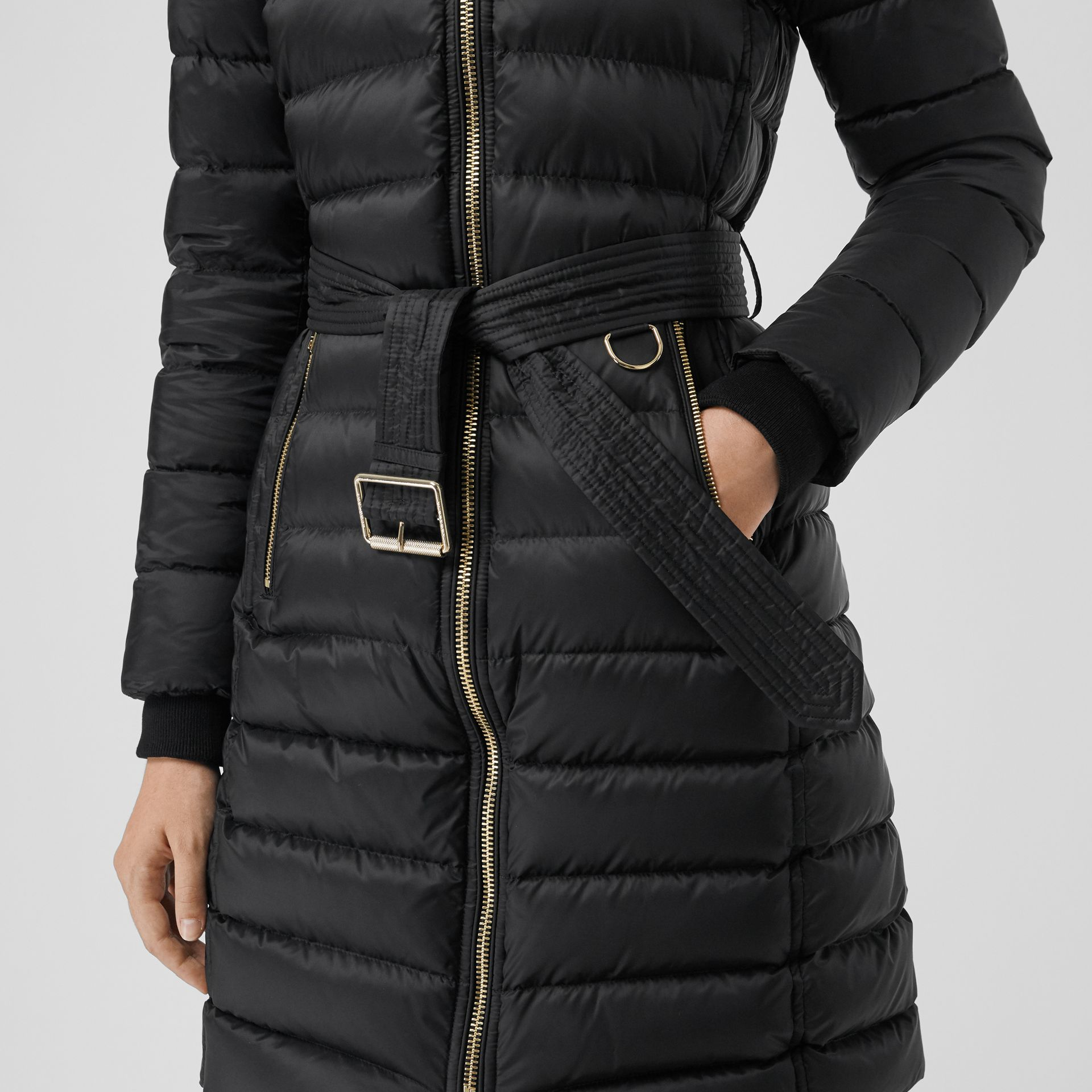 Detachable Fur Trim Down-filled Puffer Coat with Hood in Black - Women | Burberry United States - gallery image 4