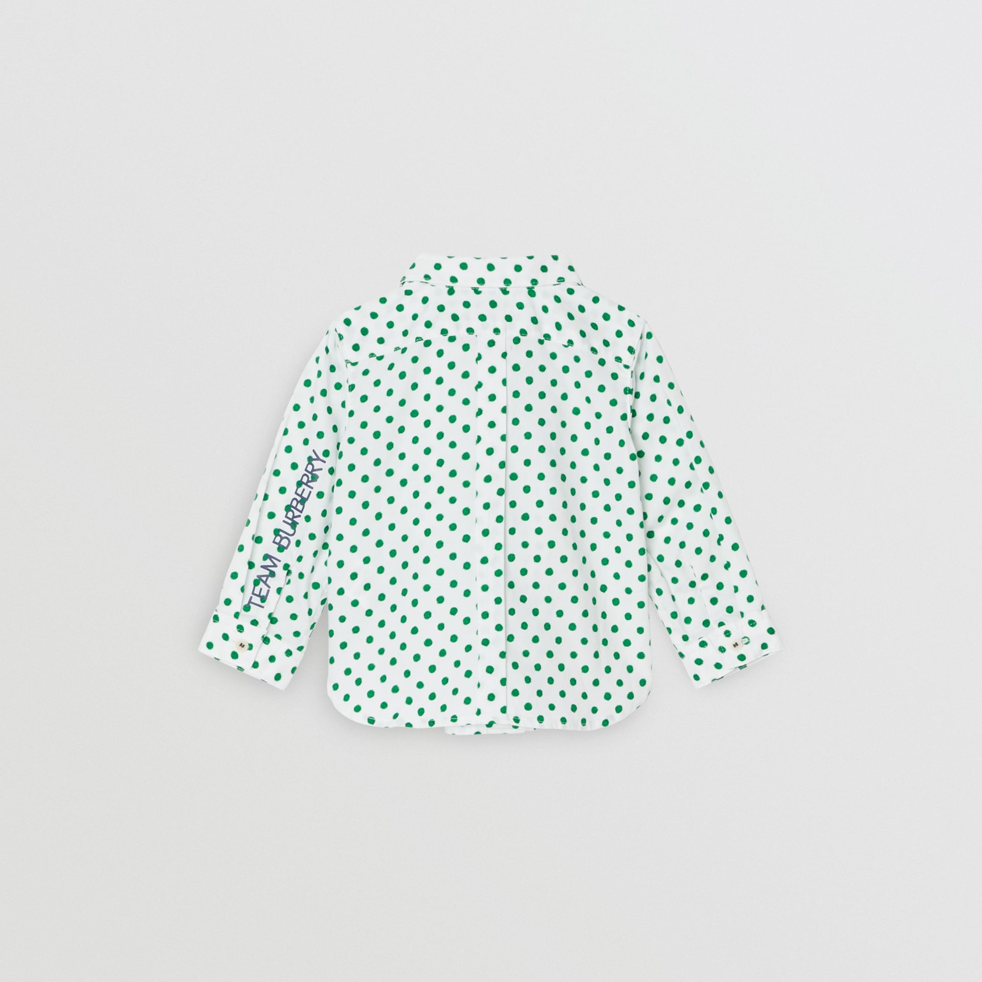 Polka Dot Cotton Oxford Shirt in Emerald Green - Children | Burberry Canada - gallery image 3