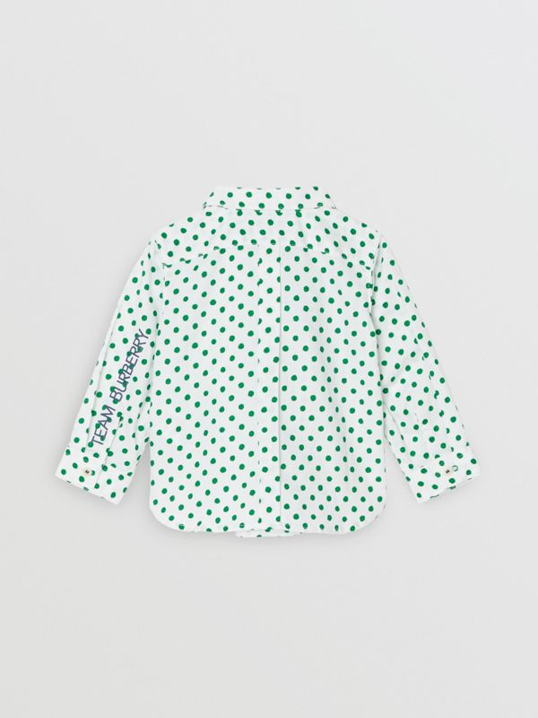 Polka Dot Cotton Oxford Shirt in Emerald Green - Children | Burberry Hong Kong - cell image 3