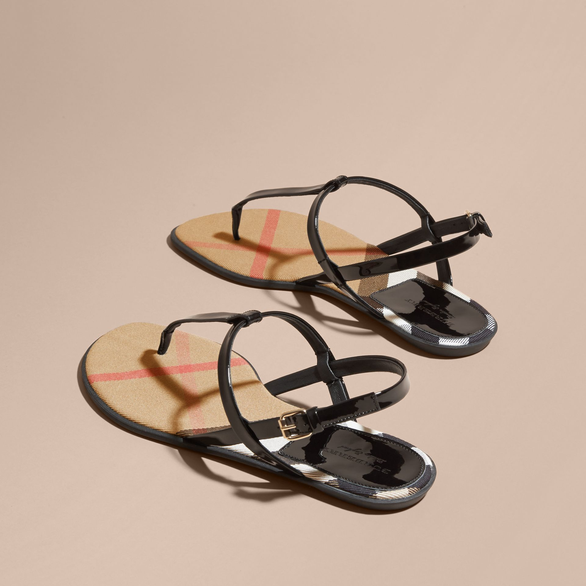 House Check-lined Leather Sandals - Women | Burberry - gallery image 4