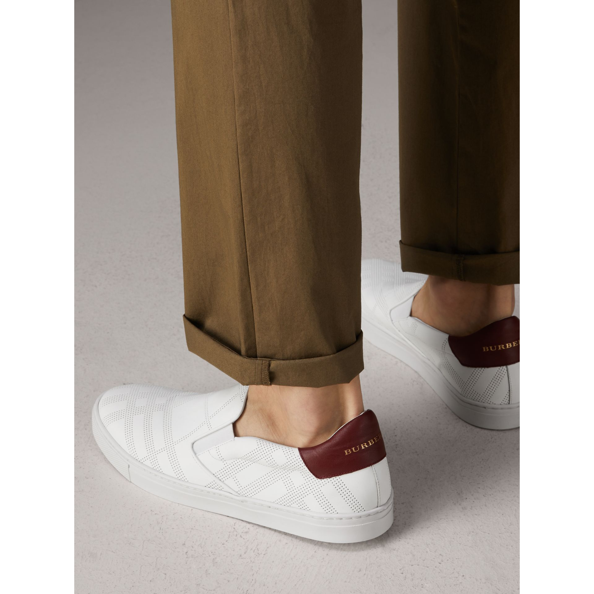 Perforated Check Leather Slip-on Trainers in Optic White/deep Claret Melange - Men | Burberry United States - gallery image 3