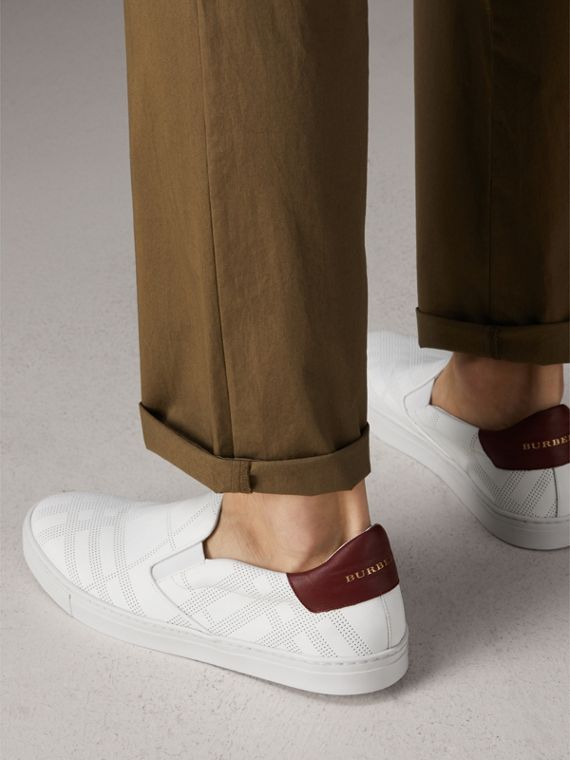 Perforated Check Leather Slip-on Trainers in Optic White/deep Claret Melange - Men | Burberry United States - cell image 2
