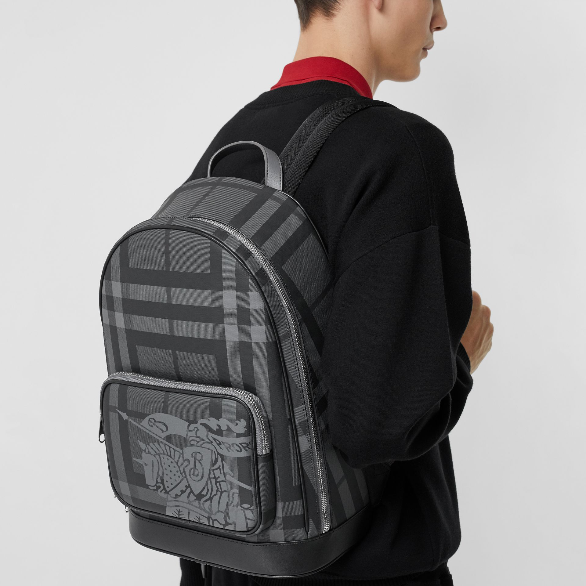 EKD London Check and Leather Backpack in Charcoal/black - Men | Burberry Singapore - gallery image 3