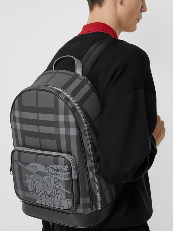 EKD London Check and Leather Backpack in Charcoal/black - Men | Burberry Australia - cell image 3
