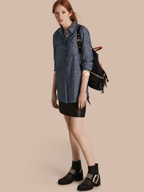 Check Detail Cotton Chambray Tunic Shirt