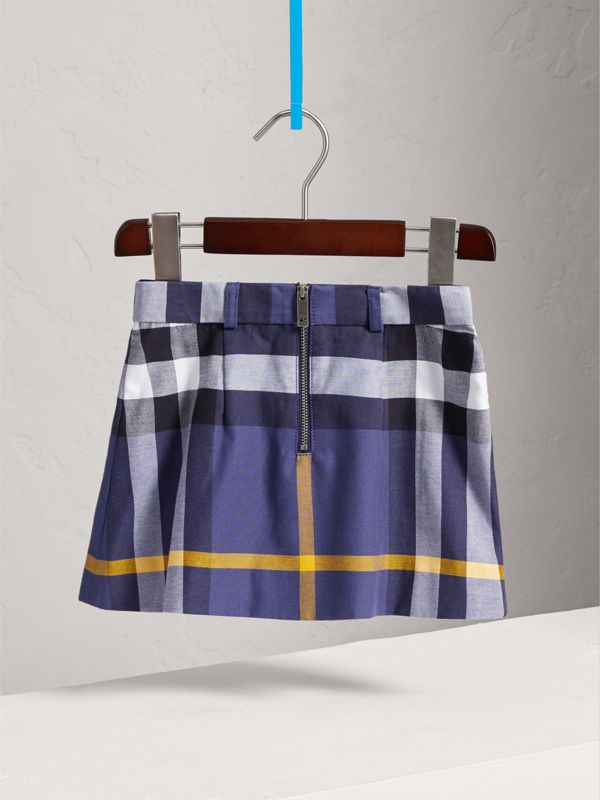 Pleated Check Cotton Skirt in Pale Navy | Burberry - cell image 3