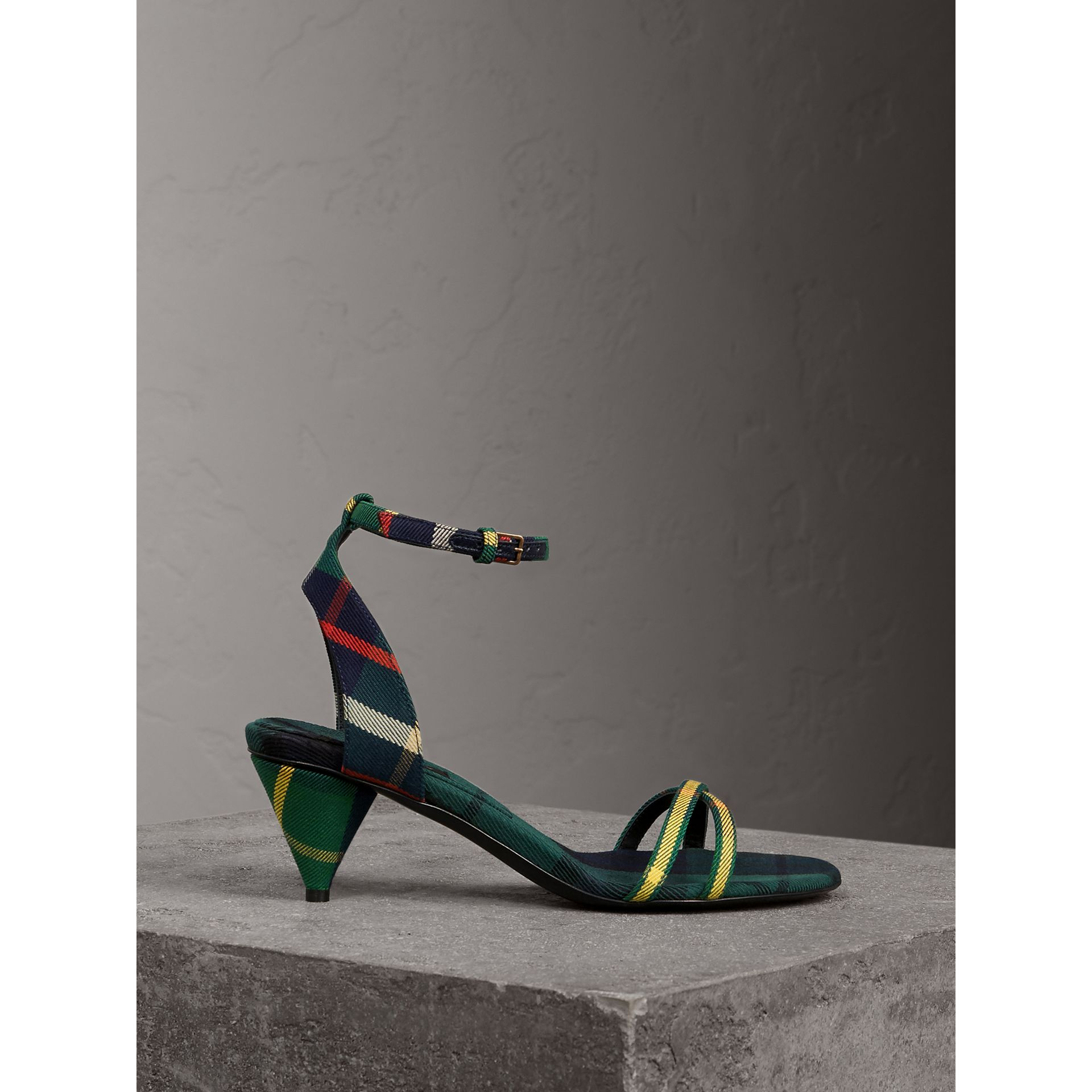 Tartan Cotton Cone-heel Sandals in Forest Green - Women | Burberry - gallery image 0