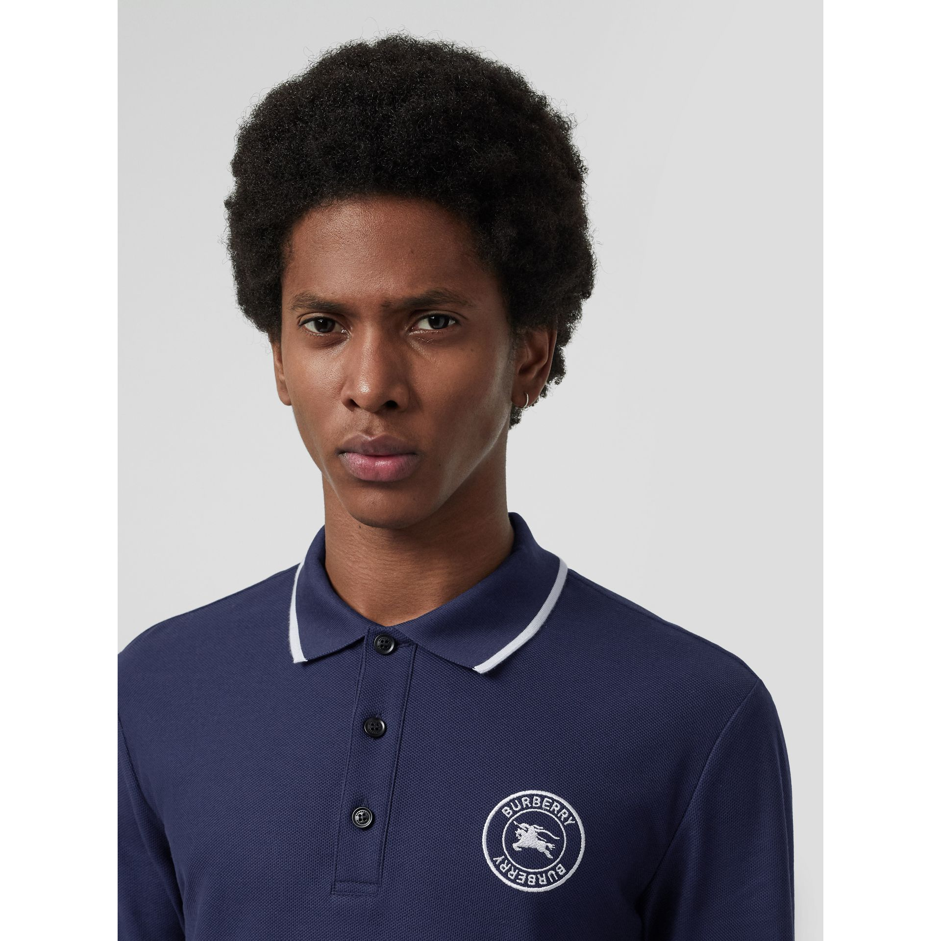 Long-sleeve Embroidered Logo Cotton Polo Shirt in Navy - Men | Burberry - gallery image 1