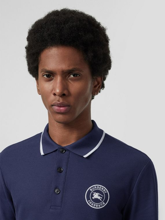 Long-sleeve Embroidered Logo Cotton Polo Shirt in Navy