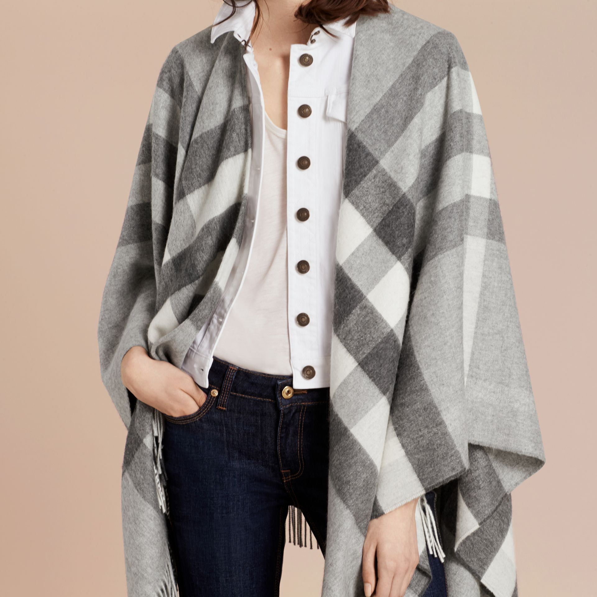 Check Cashmere and Wool Poncho Pale Grey - gallery image 6