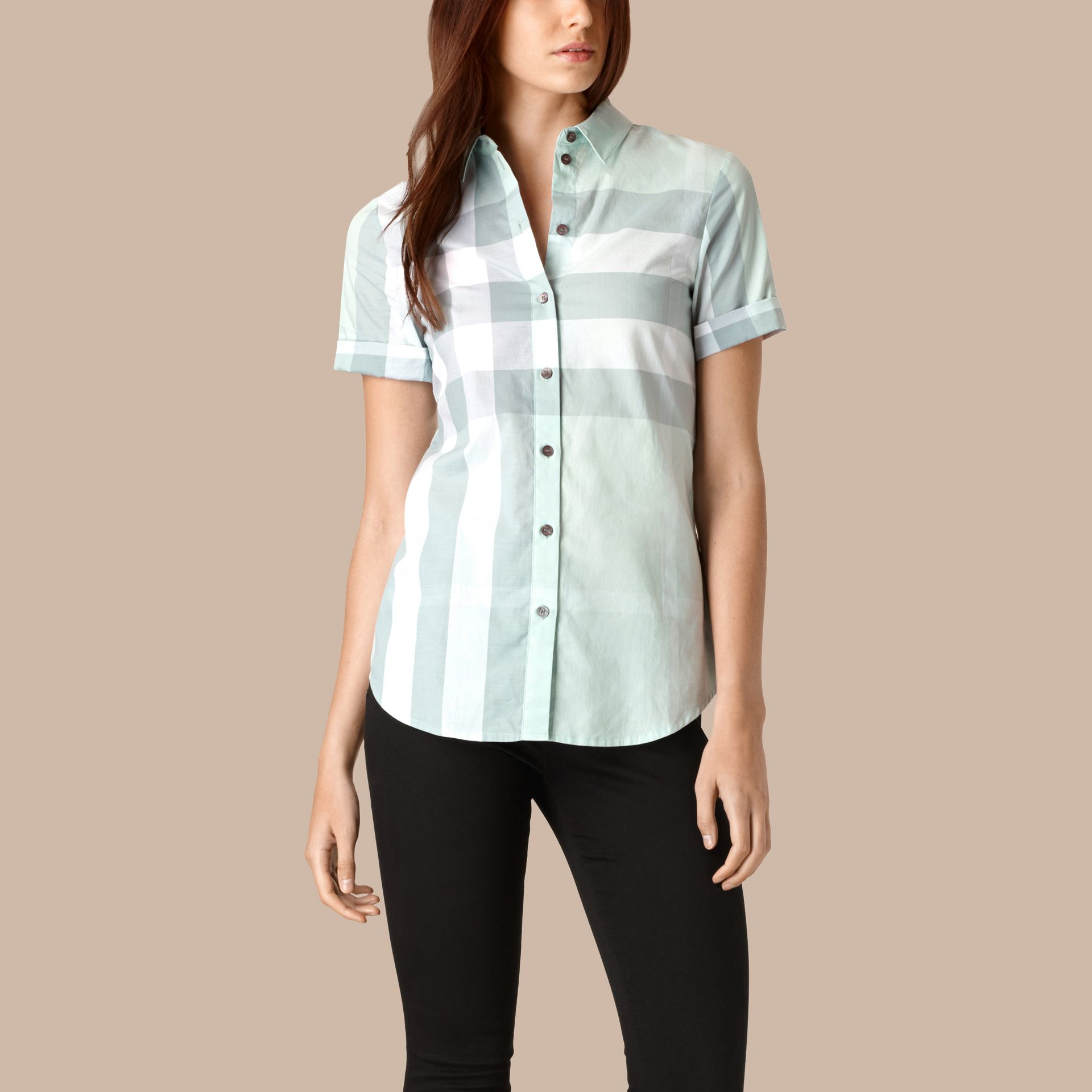 Powder blue Short-sleeved Check Cotton Shirt Powder Blue - gallery image 1