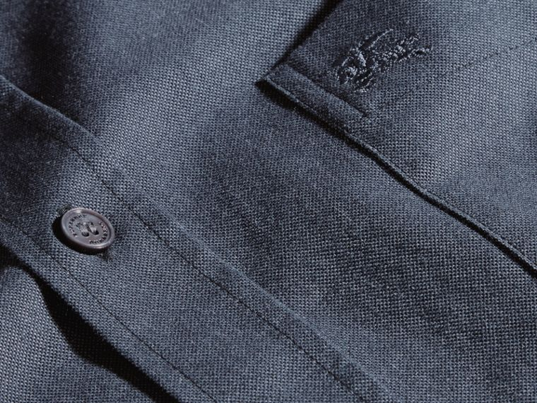 Check Detail Cotton Oxford Shirt in Dark Charcoal - cell image 1