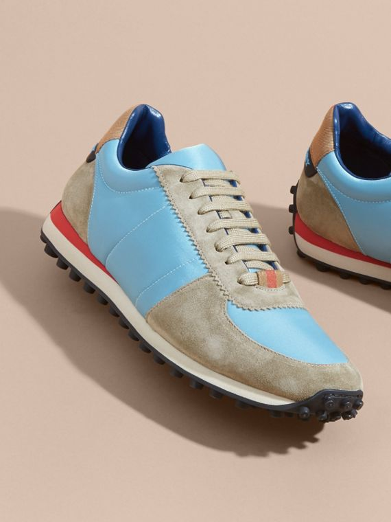 House Check Trim Suede and Technical Satin Sneakers Light Taupe Brown/powder Blue - cell image 3