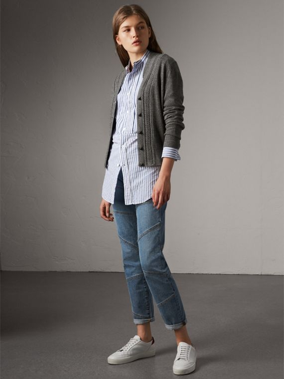 Cable Knit Detail Cashmere Cardigan in Mid Grey Melange - Women | Burberry