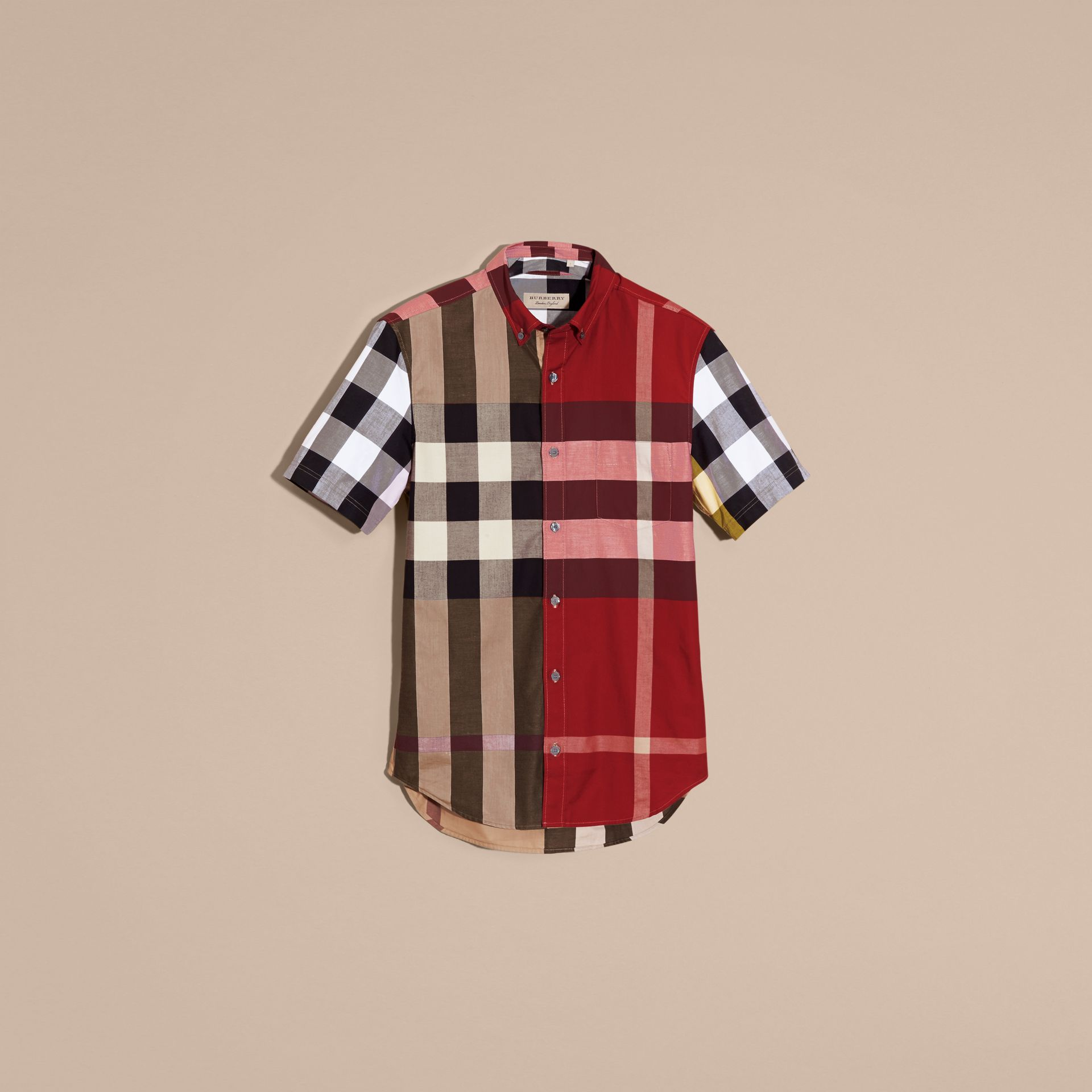 Camel Short-sleeved Colour Block Check Cotton Shirt Camel - gallery image 4