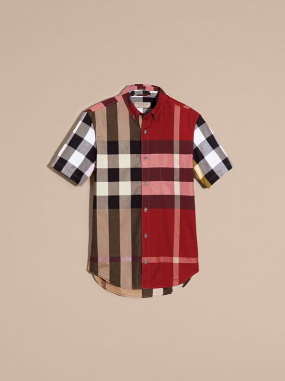 Camel Short-sleeved Colour Block Check Cotton Shirt Camel - cell image 3