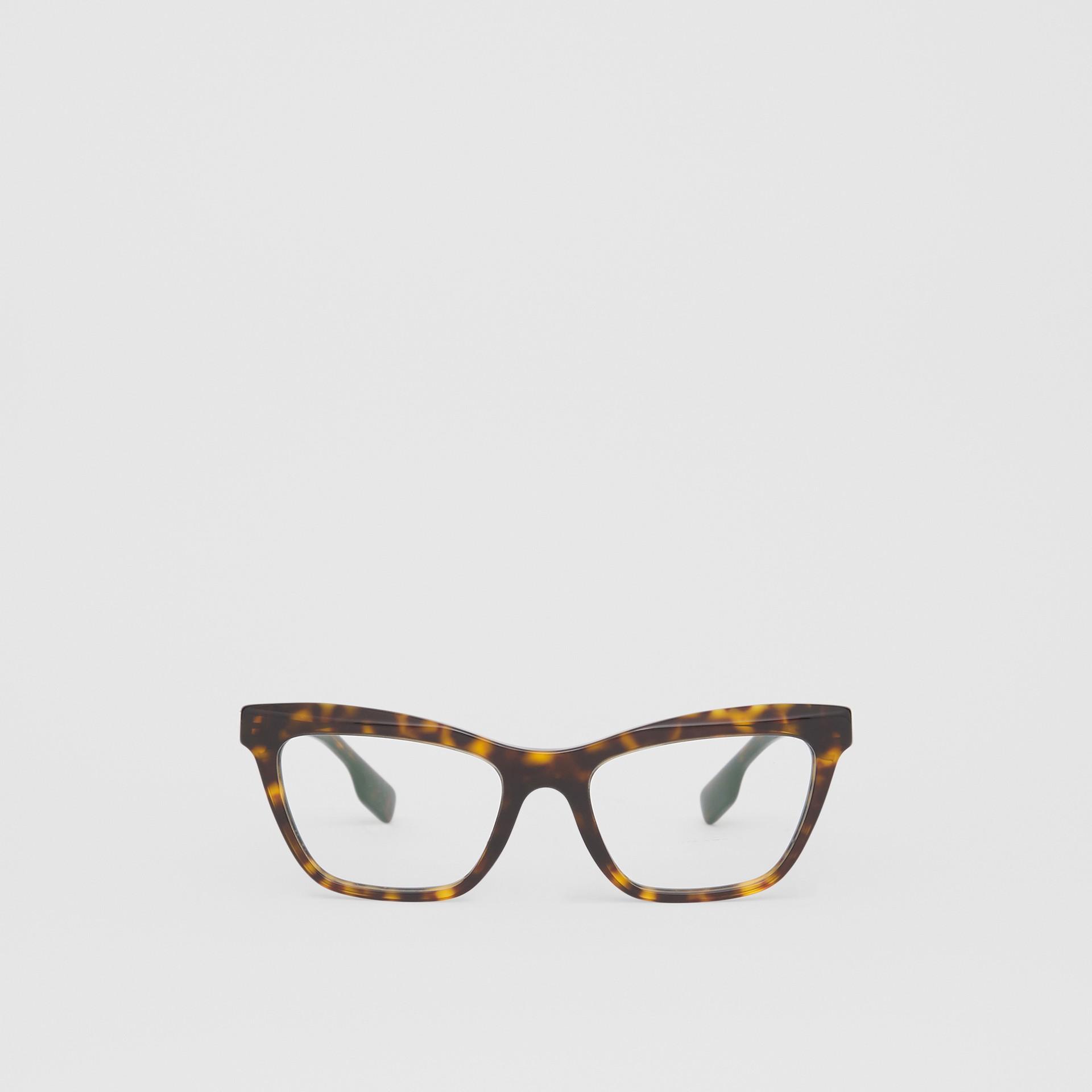 Monture rectangulaire pour lunettes de vue (Écaille  Tortue) - Femme | Burberry Canada - photo de la galerie 0