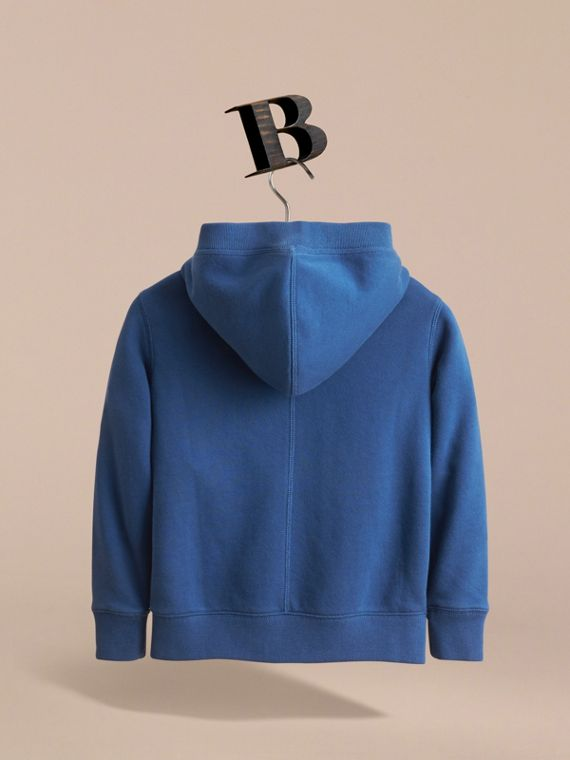 Hooded Cotton Top in Marine Blue - Boy | Burberry - cell image 3