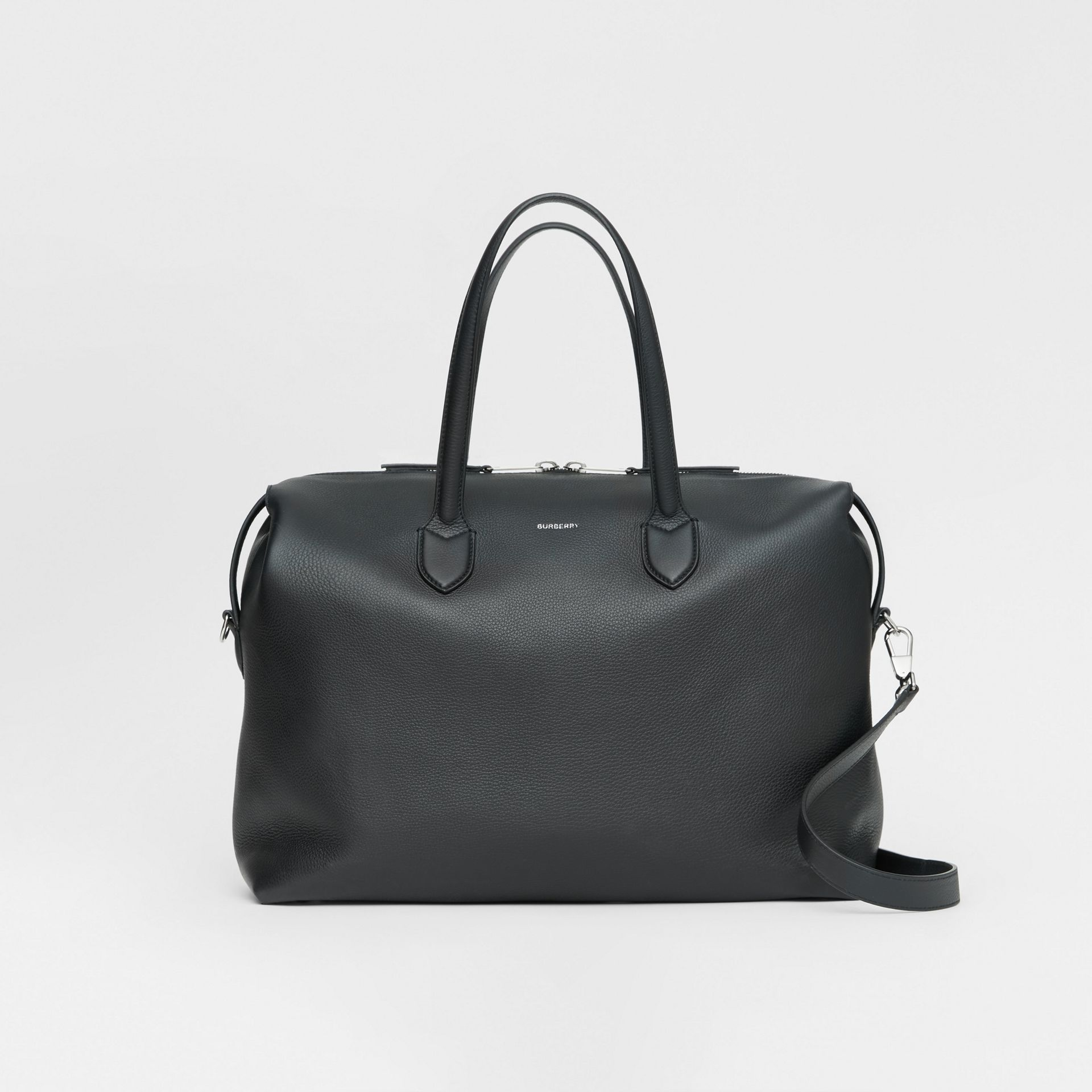 Grainy Leather Holdall in Black - Men | Burberry - gallery image 0