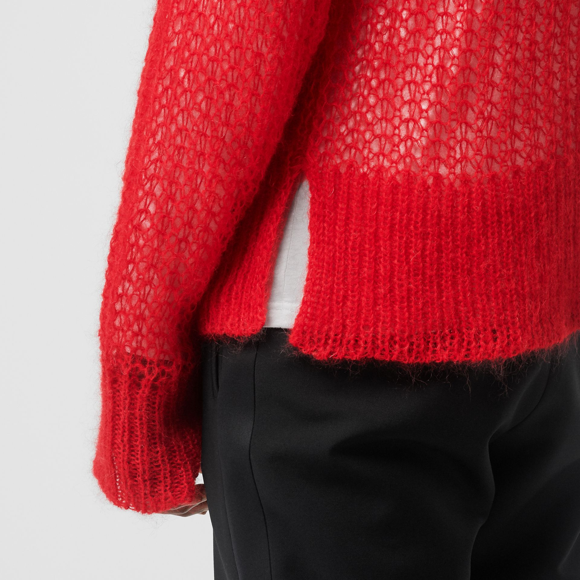 Open Knit Mohair Wool Blend Sweater in Bright Red - Men | Burberry Australia - gallery image 4