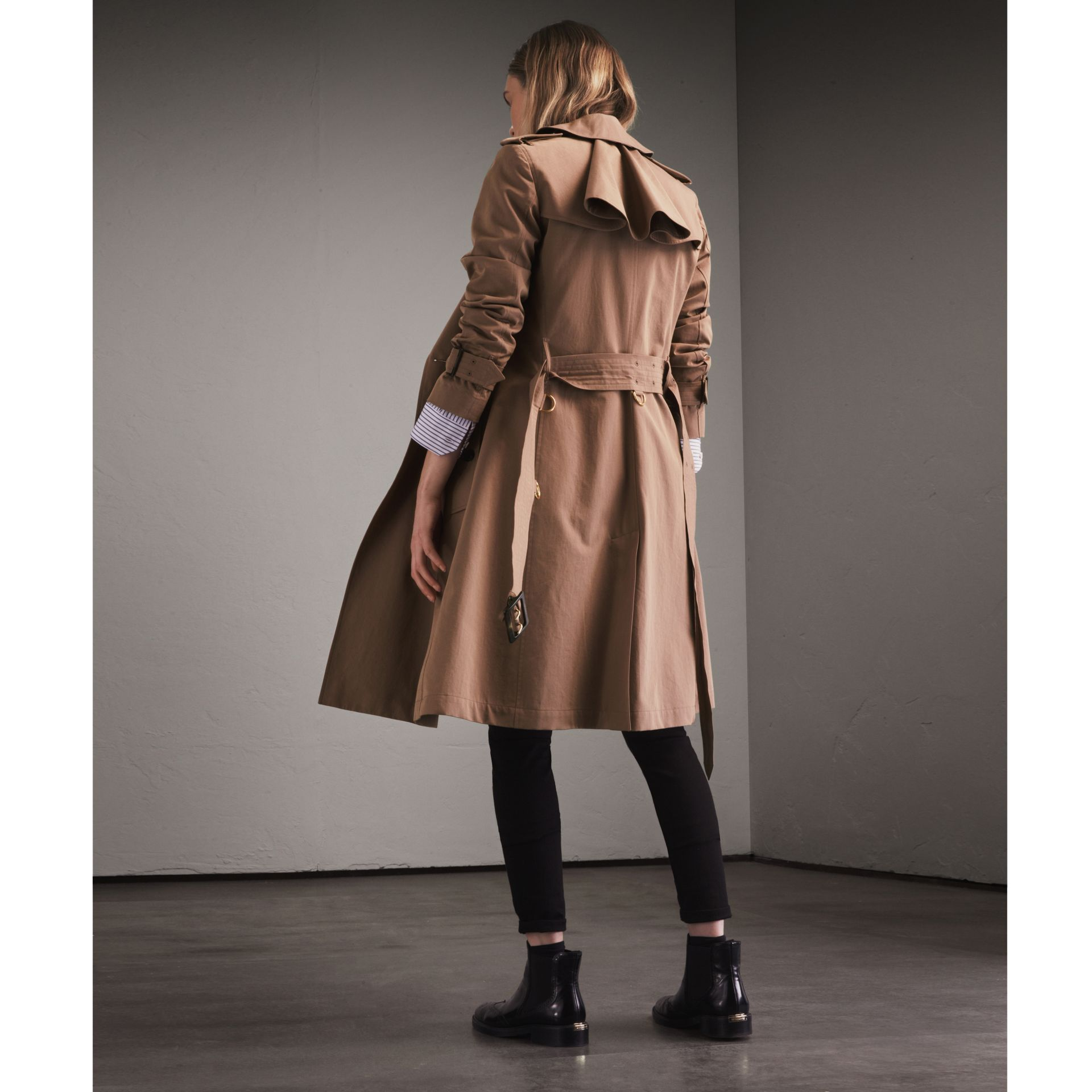 Tropical Gabardine Trench Coat with Ruffle Detail Taupe - gallery image 3