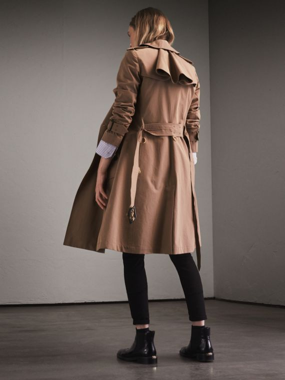 Tropical Gabardine Trench Coat with Ruffle Detail Taupe - cell image 2