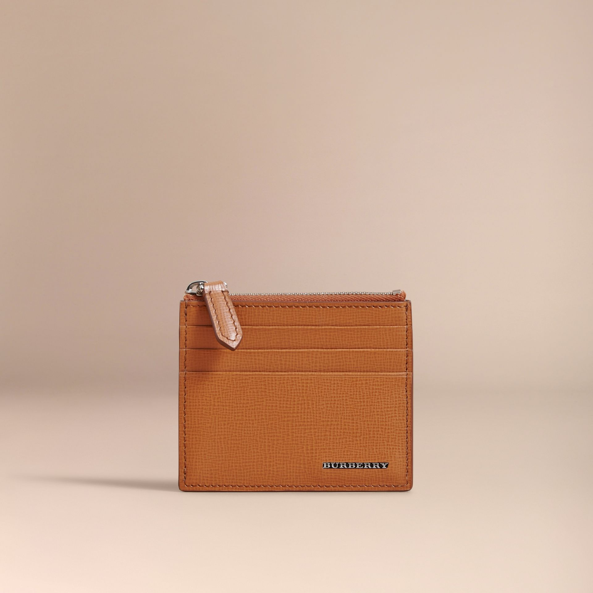 London Leather Zip-top Card Case in Tan | Burberry - gallery image 1