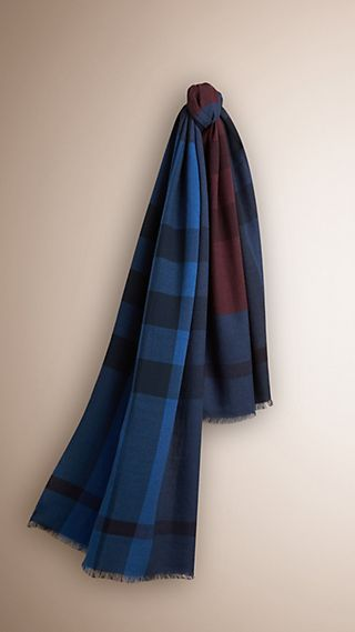 Colour Block Check Wool Cashmere Scarf