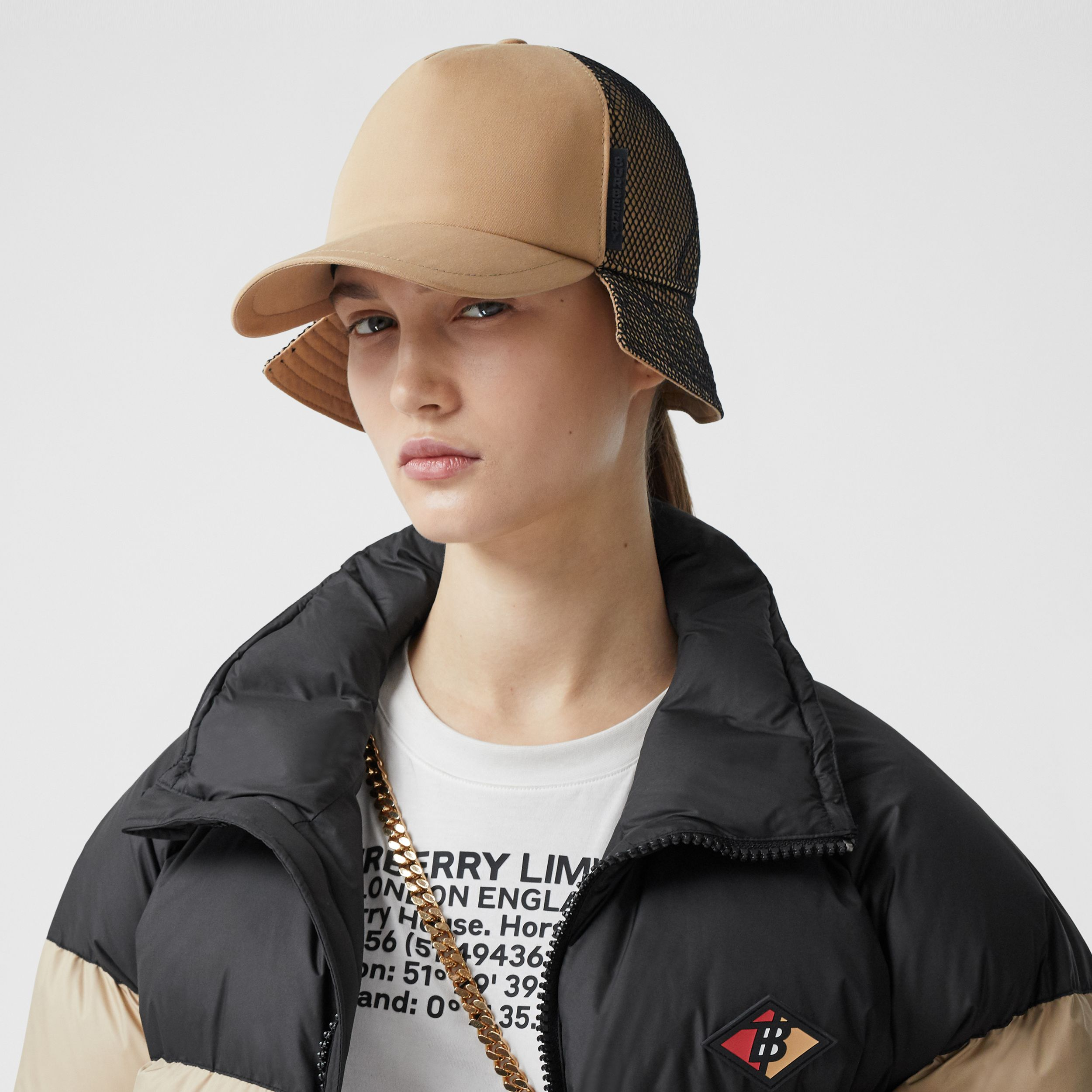 Cotton Gabardine Reconstructed Baseball Cap in Honey | Burberry - 3