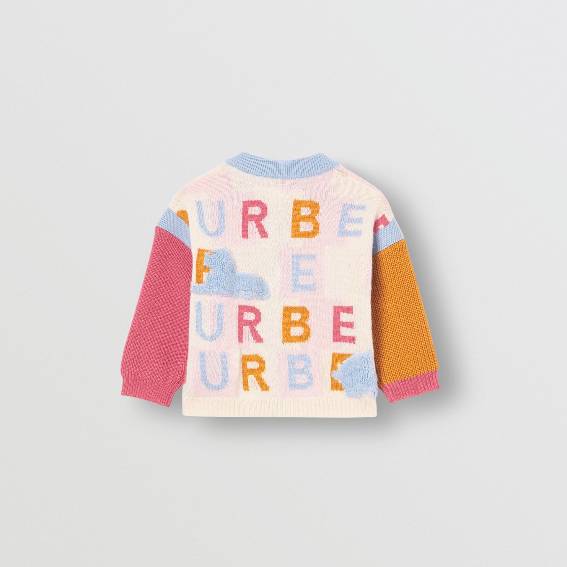 Logo Cashmere Jacquard Cardigan in Light Pink - Children | Burberry - gallery image 3