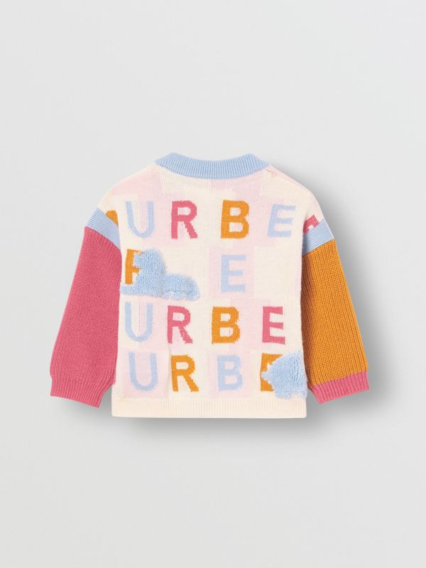 Logo Cashmere Jacquard Cardigan in Light Pink - Children | Burberry - cell image 3
