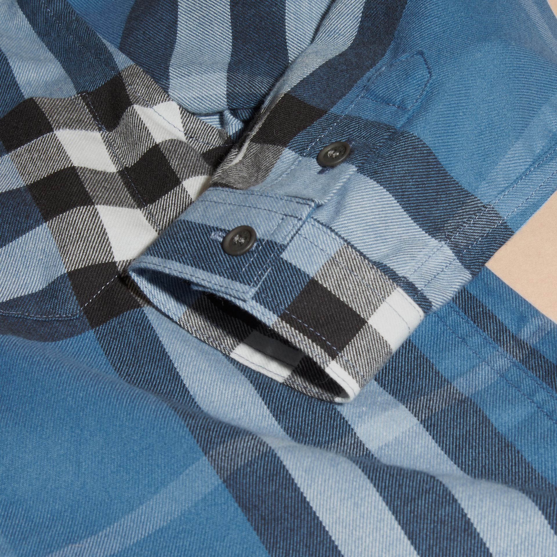 Bright steel blue Check Cotton Flannel Button-Down Shirt - gallery image 2