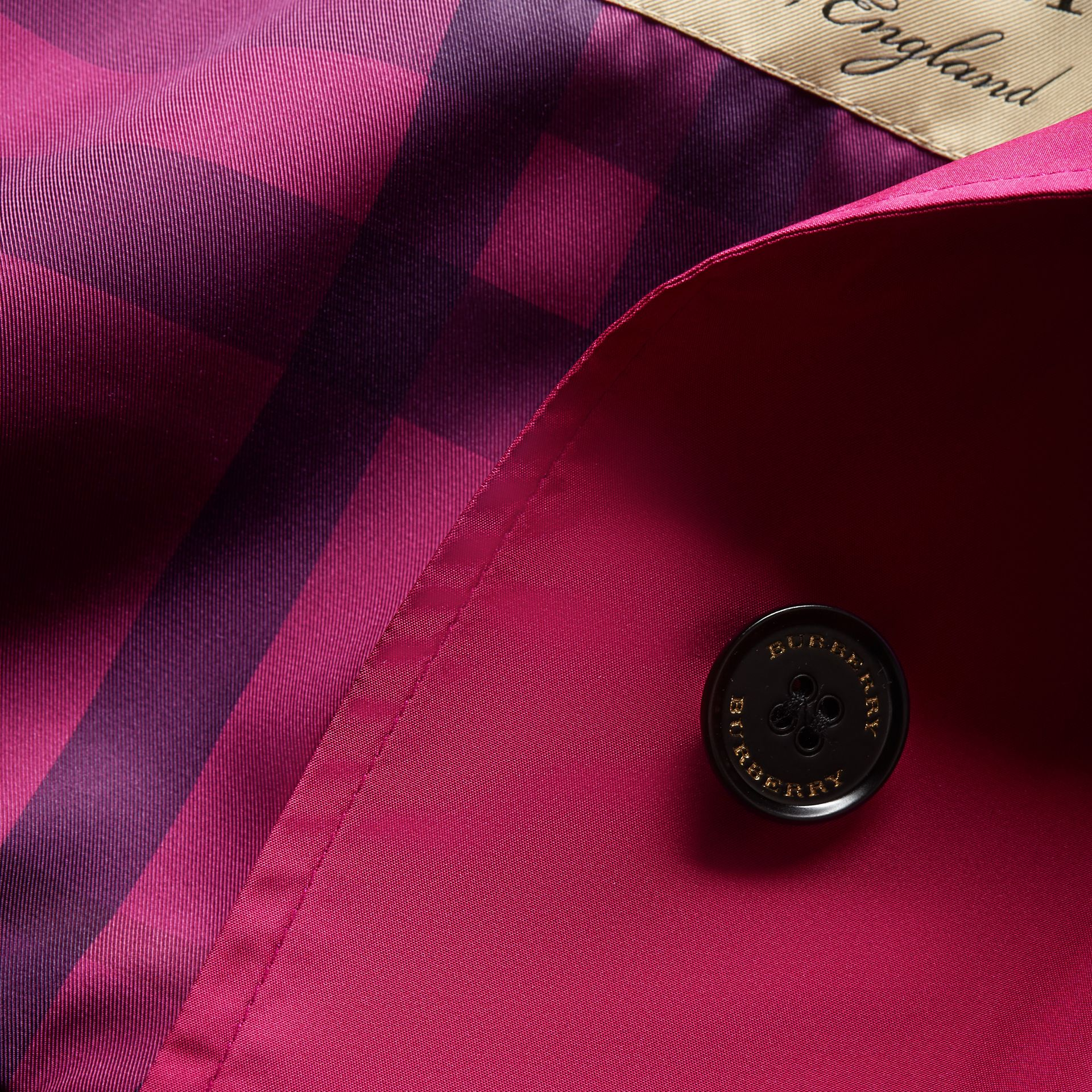 Single-breasted Technical Trench Coat Damson Magenta - gallery image 2