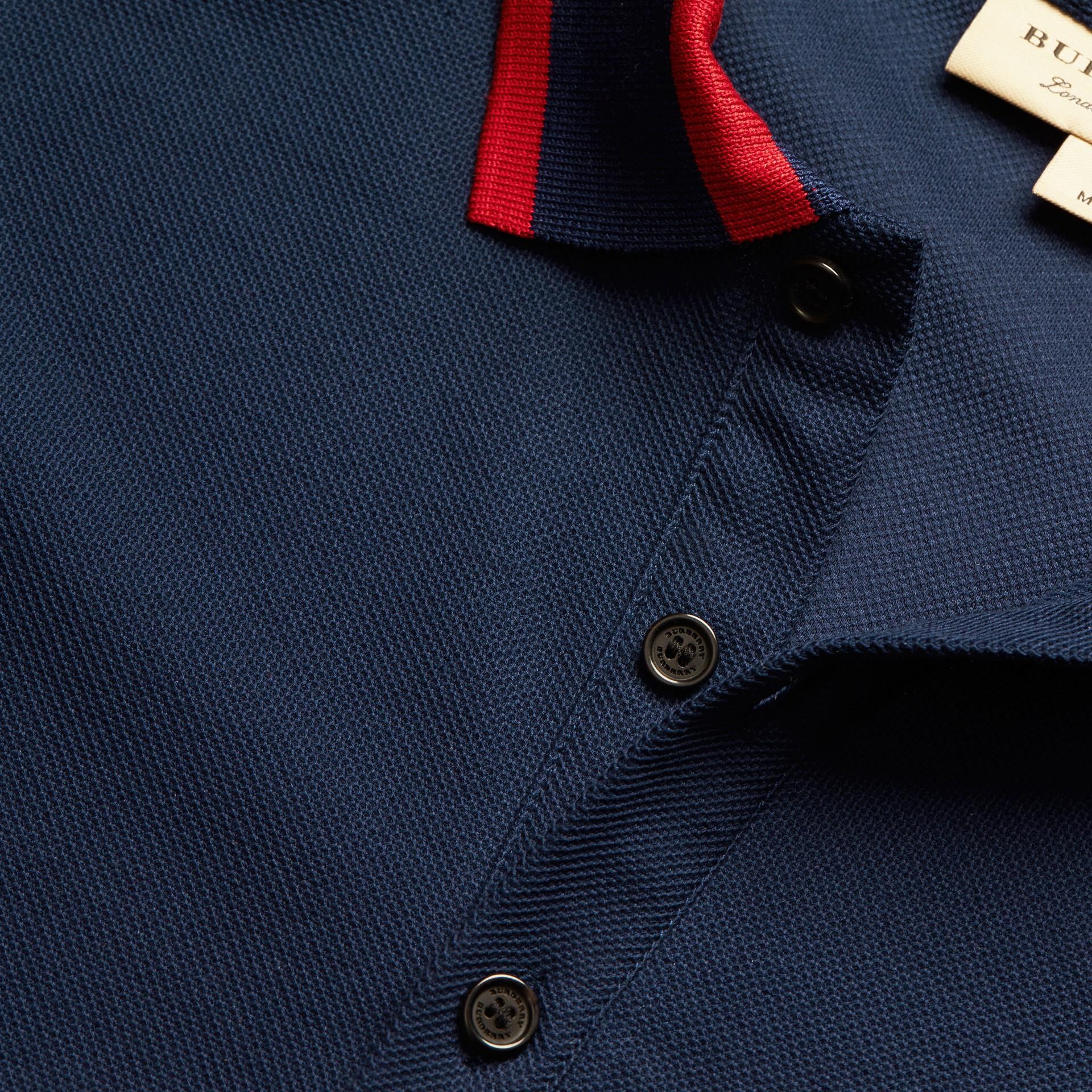 Navy blue Striped Collar Cotton Piqué Polo Shirt Navy Blue - gallery image 2