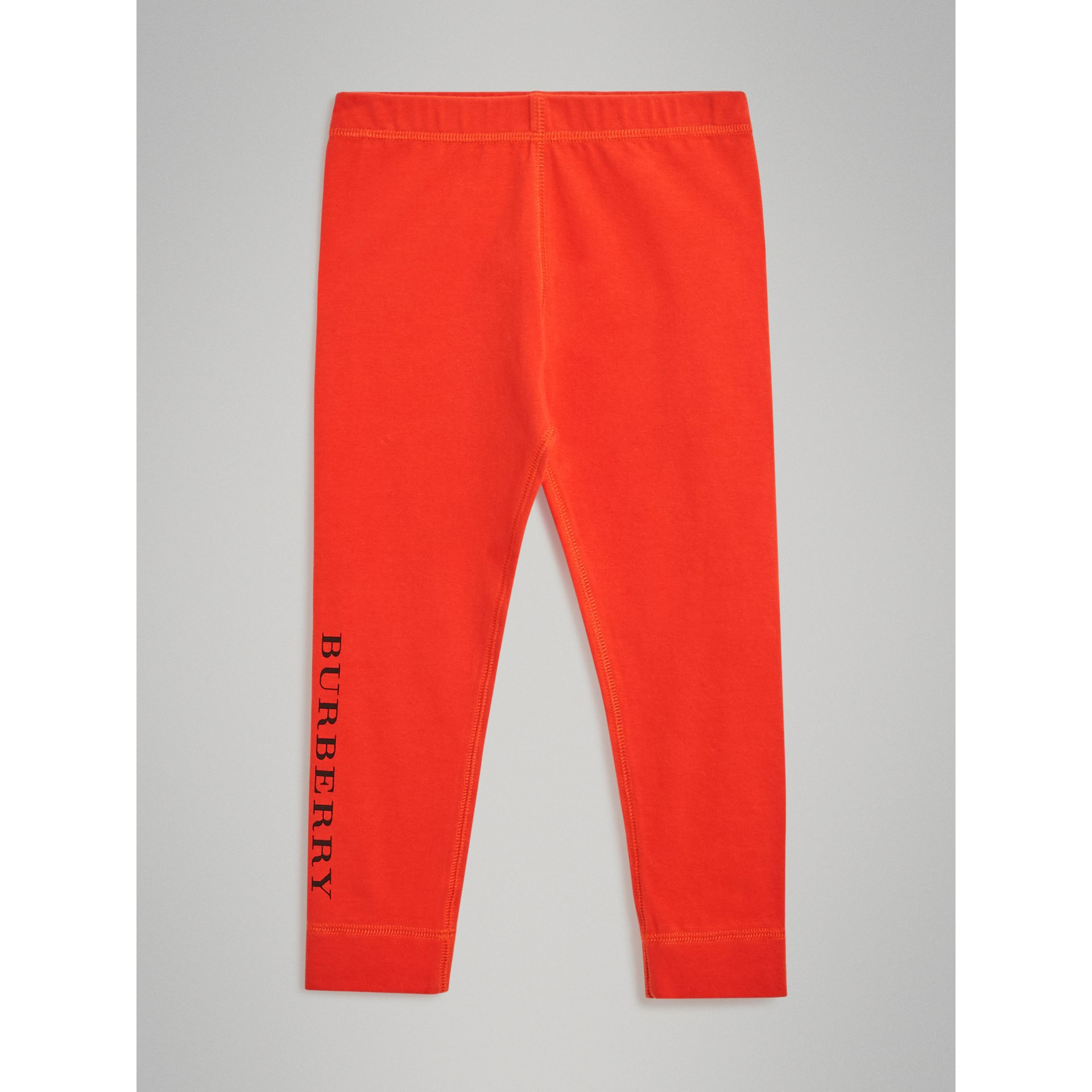 Logo Detail Stretch Cotton Leggings in Orange Red | Burberry Australia - gallery image 0