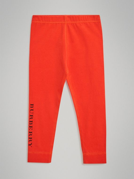Logo Detail Stretch Cotton Leggings in Orange Red